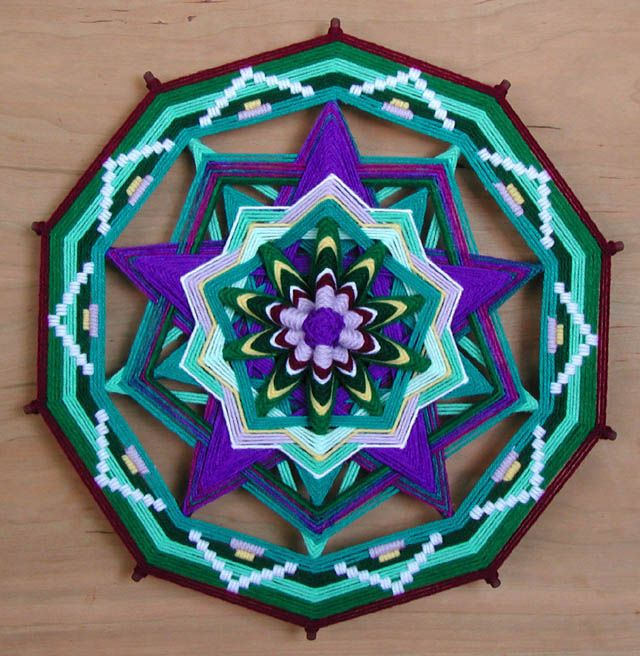 Heart of the Pentagram , a 18 inch, 10 sided, Ojo de Dios by Jay Mohler