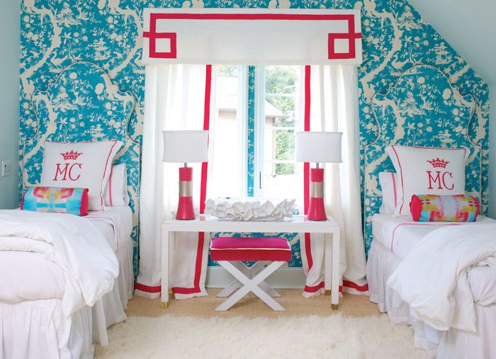 White and Pink Kids Monogrammed Bedding, Contemporary, Girl's Room Turquoise Quadrille Paradise Background chinoiserie wallpaper headboard Greek key tape trim cornice detail red Lee Jofa Nirvana shadows upholstered walls wallpaper