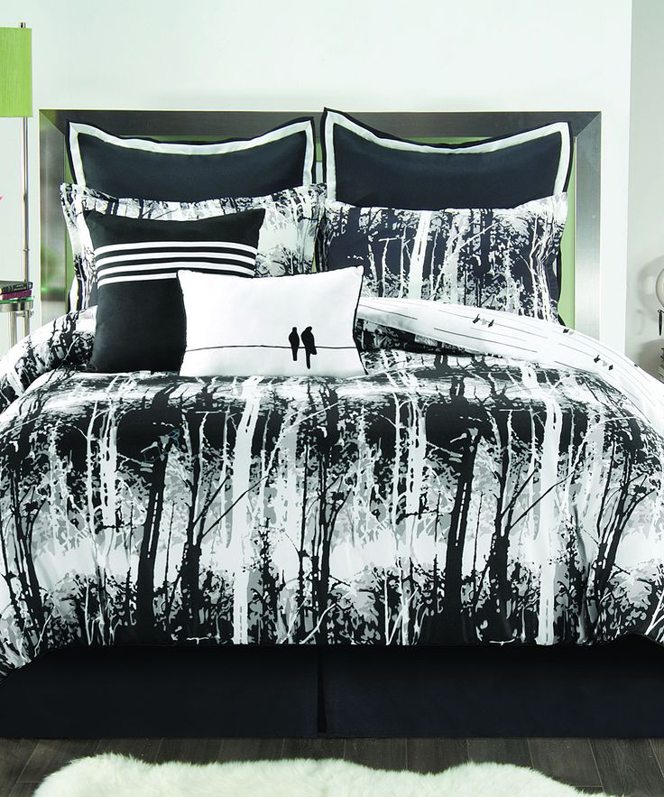 Black & White Woodland Comforter Set | zulily