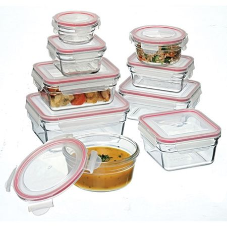 Glasslock+9+Piece+Tempered+Glass+Food+Container+Set+-+Oven+Safe