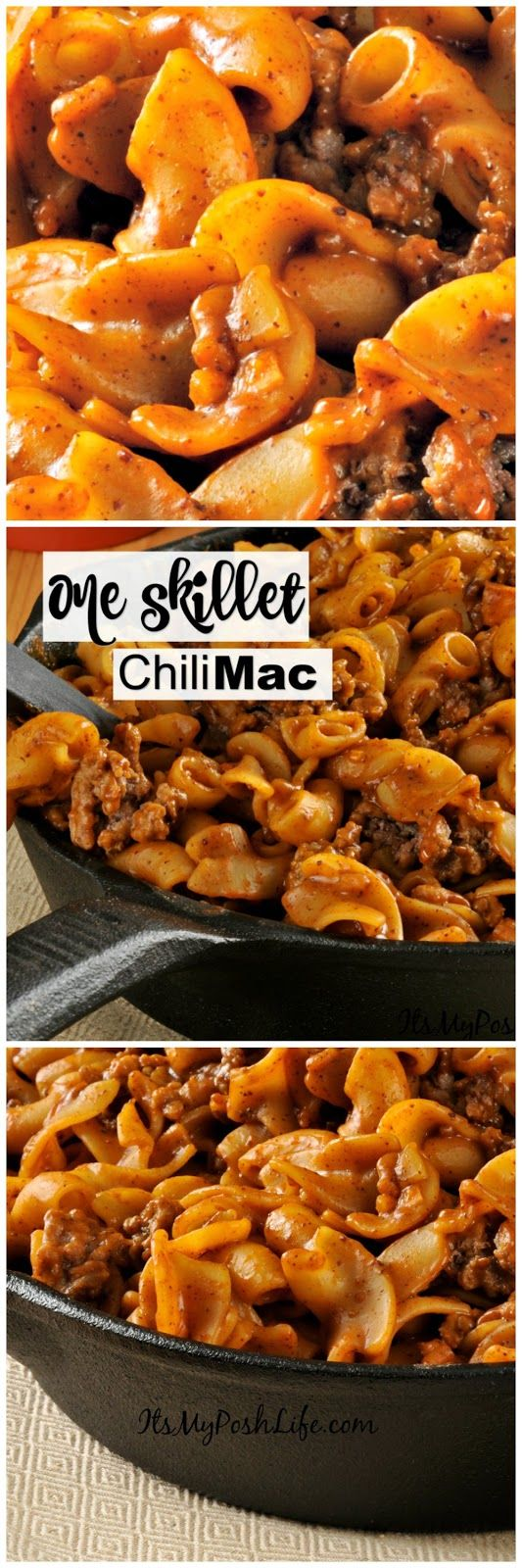 easy!! I like that! No Sweat One Skillet Chili Mac http://poshonabudget.com/2017/02/no-sweat-one-skillet-chili-mac.html via @poshonabudget