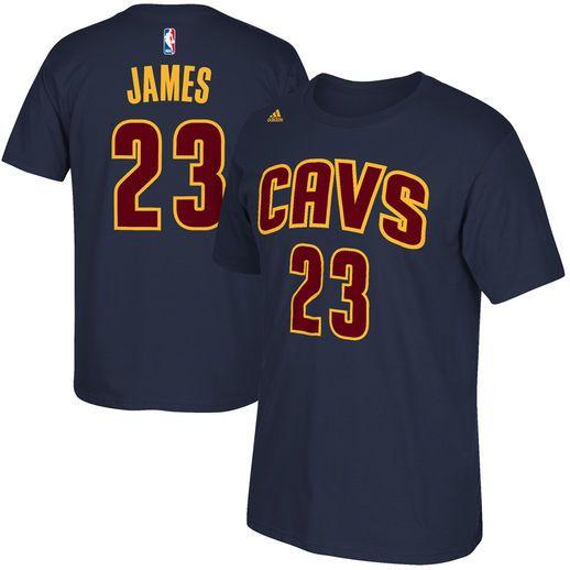 adidas LeBron James Cleveland Cavaliers Navy Blue Net Number T-Shirt