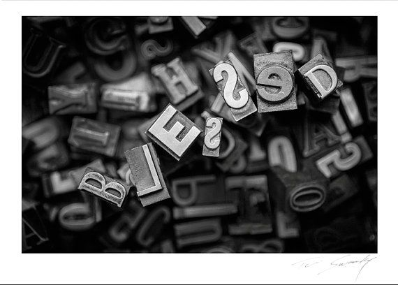 BLESSED© VINTAGE letterpress letters Black by SwankyPhotographic