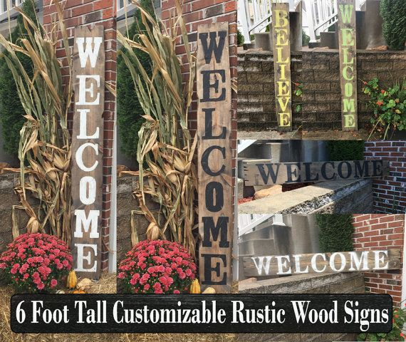 (Wood welcome sign, Wooden welcome sign, Rustic welcome sign, Rustic wood sign, Porch welcome sign, Welcome porch sign, Large welcome sign)  ★PRODUCT DESCRIPTION★ This is a handcrafted rustic fully distressed customizable large solid wood welcome sign that can have customized wording and measures a full 6 tall by 9.5 wide. These rustic wood custom welcome signs will be a great addition to any front porch, patio, deck, garden, entryway, or interior décor. Wood is hand distressed and fully…