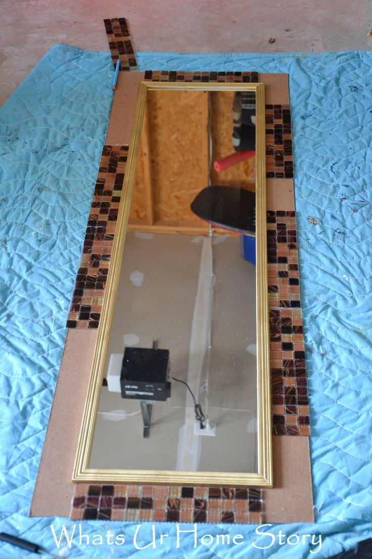 DIY Tile Mirror, how to make a mirror with tile frame, use different colored tiles, but I love the idea