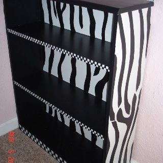 zebra painted furniture | Zebra painted bookcase | Painted Furniture... Like The Idea But Not The Checker Board On Front Of Shelves..