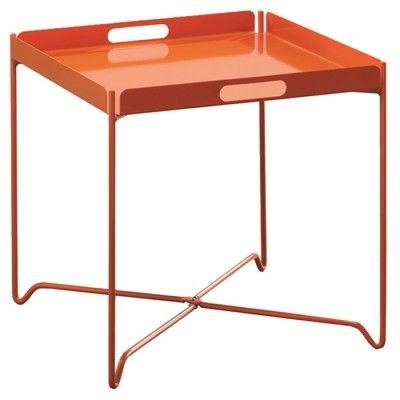 A collapsible tray table made from metal is a fun way to serve drinks and food outdoors. | $56