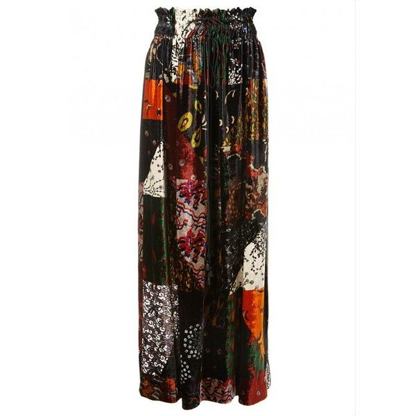 Chloé Runway Printed Velvet Maxi Skirt ($970) ❤ liked on Polyvore featuring skirts, long pleated maxi skirt, long ankle length skirts, long ruffle skirt, pleated maxi skirts and long print skirt