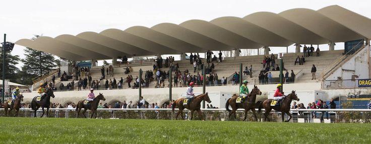 Arriba, el Hipódromo de la Zarzuela con su liviana y alabada cubierta.