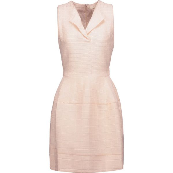 Maje - Romya Belted Mattelassé Mini Dress (11.290 RUB) ❤ liked on Polyvore featuring dresses, neutral, short pink dress, short leather dress, maje, glamorous dresses and pink mini dress