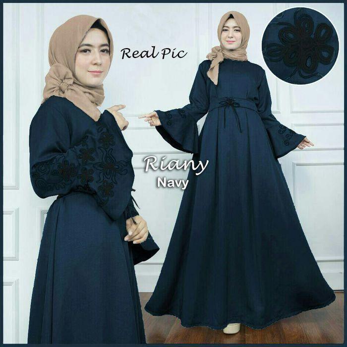 Model Gamis Warna Biru Navy Baju Muslim Biru Gaun