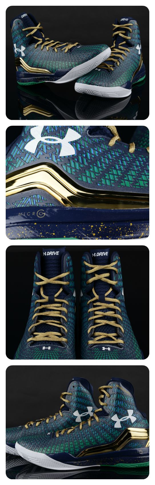Under Armour Clutchfit Drive Midnight Navy/Kelly Green colorway.