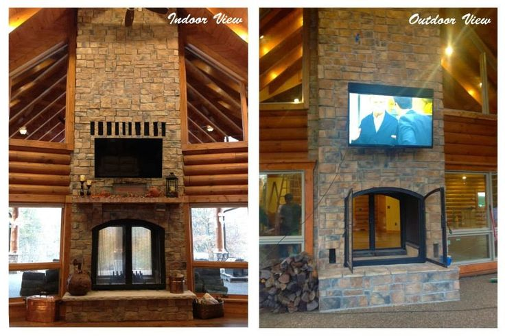 indoor / outdoor double sided fireplace