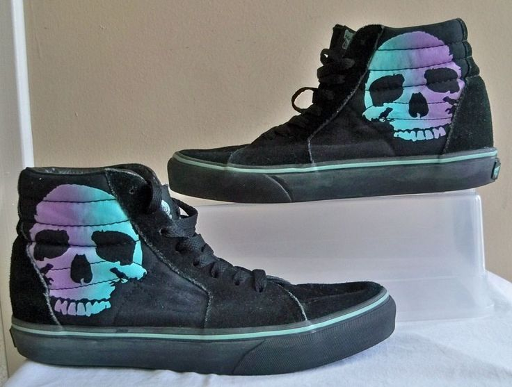 SKATEBOARD SHOES. SKULL DESIGN ON SIDES. GRADUATED MINT GREEN TO LAVENDER PURPLE. BLACK SUEDE AND CANVAS. LACE UP. PRE OWNED. CONDITION- LIGHT SIGNS OF WEAR/ USE. SOME DIRT IN SOLES, AND GOLDENISH STAIN ON SIDE NEAR BACK OF ONE SHOE. | eBay!