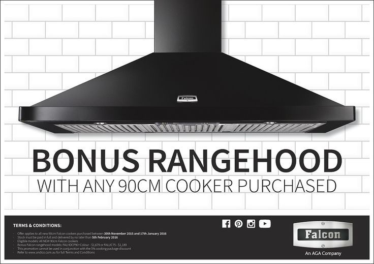 """Falcon - FREE Rangehood with our 90cm Falcon Range Cookers    Buy any of our 90cm """"Falcon"""" Upright Range Cookers and receive a FREE Rangehood*!"""