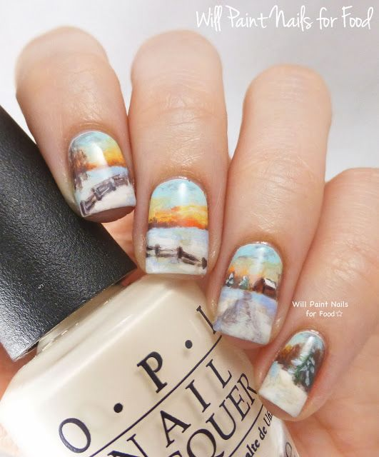 Will Paint Nails for Food: A Snowy Country Landscape + Tutorial
