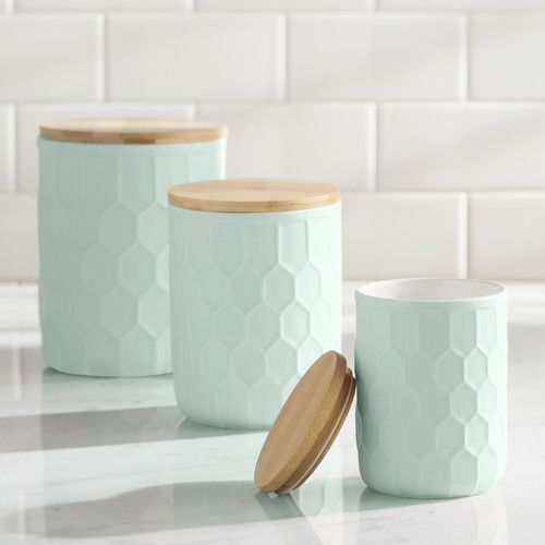 Found it at AllModern - 3 Piece Ceramic Jar with Bamboo Lid Set