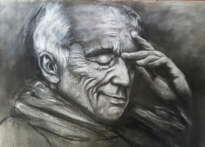 Deep in thought..Charcoal drawing