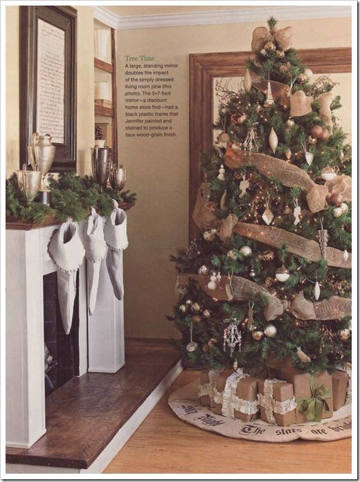 tree idea - pretty! The gifts wrapped in burlap too!