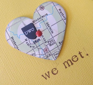 We met. We married. We lived. We love. Little map hearts of where each of those took place, framed.