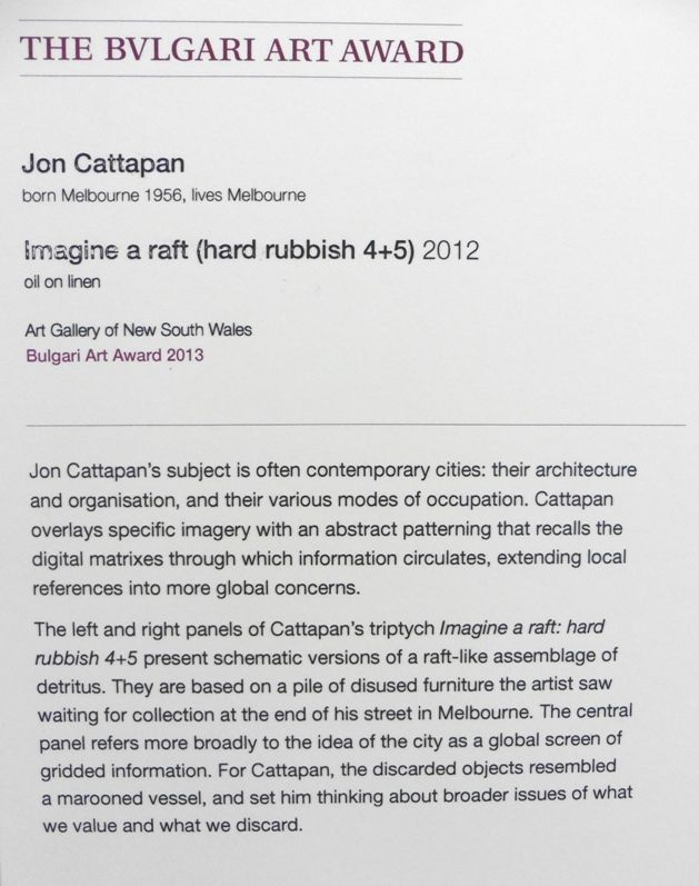 Jon Cattapan, Imagine a raft, 2012 statement Art Gallery of NSW - sample construction timeline
