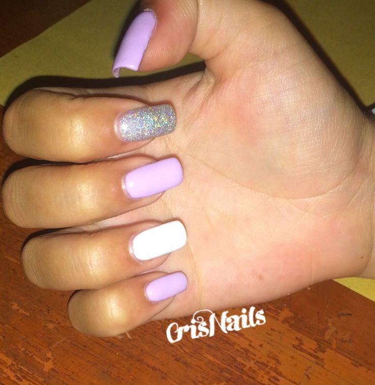 #nail #nails #unghie #lilla #viola #argento #bianco #ricostruzione #gel #unghiegel