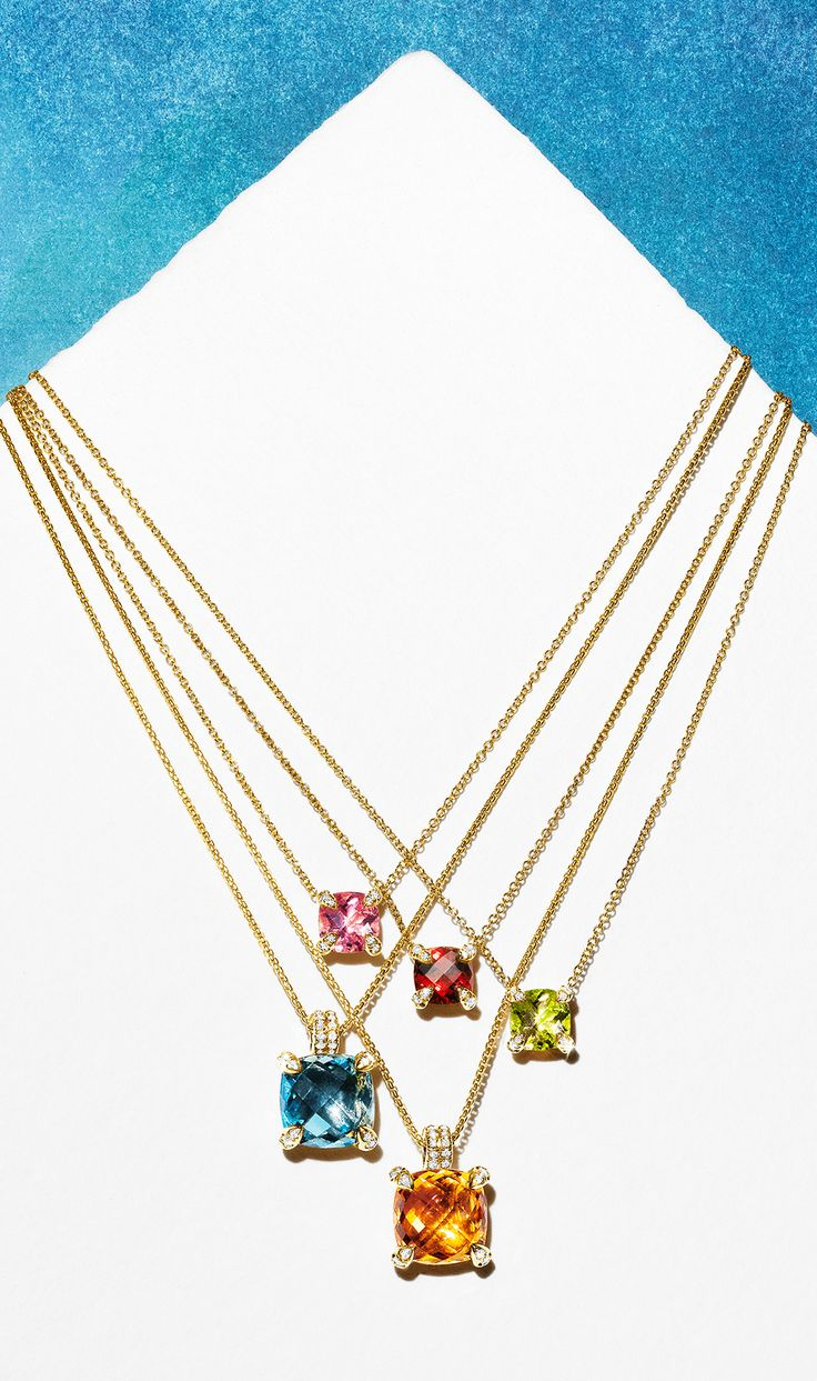 Châtelaine gemstone pendants look beautiful alone or layered.