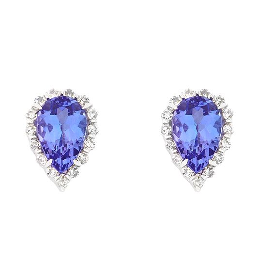 9 carat white gold diamond and tanzanite earrings