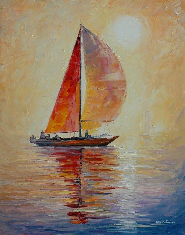 Red Sail by Leonid Afremov cuadro de barcos