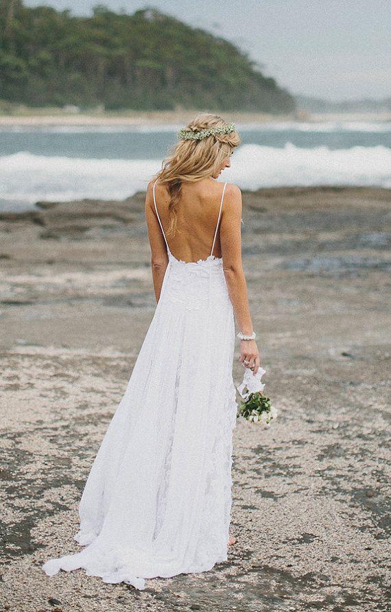 Stunning low back white lace wedding dress with lace for Beach wedding dress low back