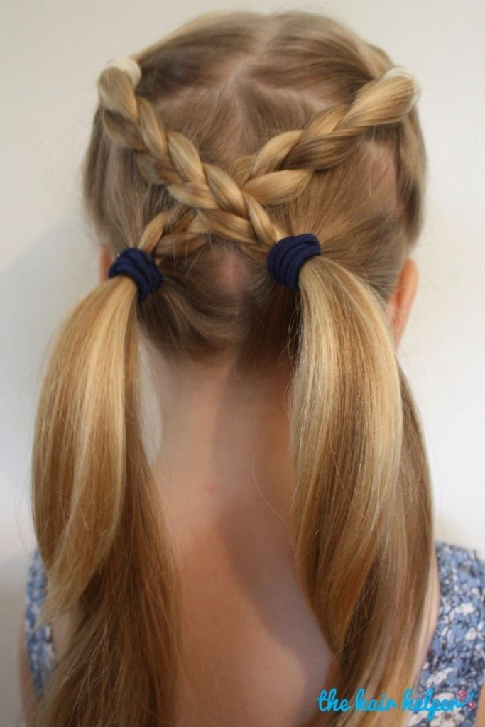 Easy Ponybraids For Kids A Little Practice And Your Kid Can Shine In The Schoolyard With These Crossed Bra Girls Hairstyles Easy Easy Hairstyles Girl Haircuts