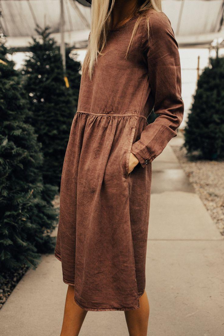 Light Mauve Dress with Pockets   ROOLEE