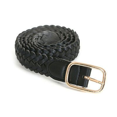 Black New Unisex Casual Woven Belt Elastic Stretch leather Web Braided Belt