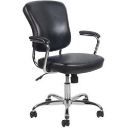 ofm essentials black leather office chair with arms