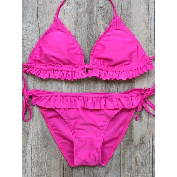 Halter Double Side Frilled String Bikini Set ($15) ❤ liked on Polyvore featuring swimwear, bikinis, frilly bikini, thong bikinis, string bikini swimwear, flounce bikini and string bikini