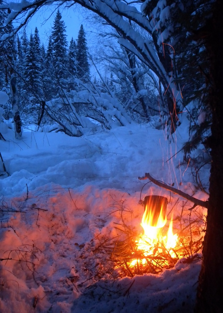 how to build a fire in winter