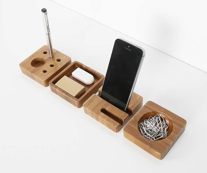 Bamboo Smart Phone Dock Stand Desk Organizer Office Accessories Set – 4 Piece Set