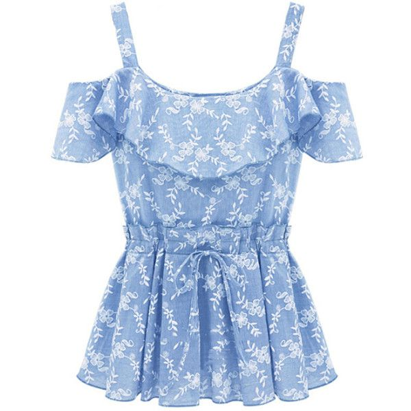 Light Blue Floral Print Off Shoulder Ruffles Decor Casual Top ($23) ❤ liked on Polyvore featuring tops, shirts, blusas, floral print top, print shirts, blue shirt, flounce tops and off shoulder top