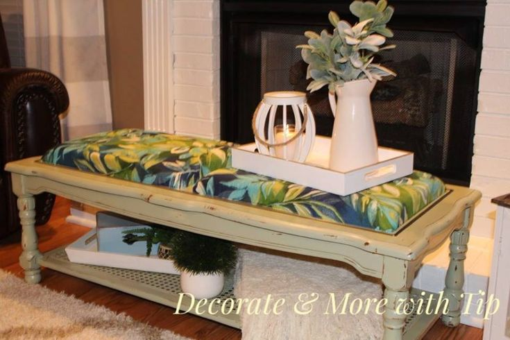 thrift store makeover coffee table makeover chalk paint cushions back porch table bench