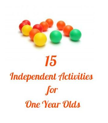 15 Independent Activities for One Year Olds: -Texture book, -Peek-a-boo tray from shoe box lid, -Baby play bottle, -Buckle clipping toy, -Treasure basket, -Fabric pull, -Muffin tin/egg carton sorting, -Balls in the box, -Velcro board, -Magnet fun, -Placing objects into a container, -Tactile Exploration Cards, and -Pipe Cleaners in a bottle.