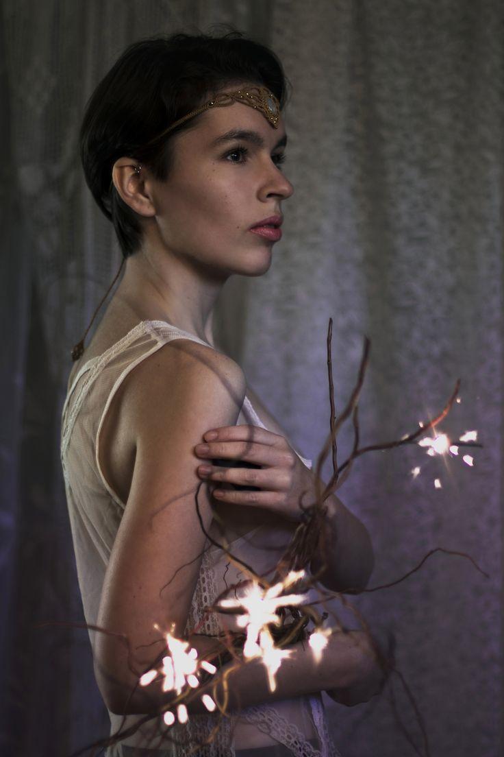 #selfportrait #tiara #headdress #macrame #micromacrame #sparklers