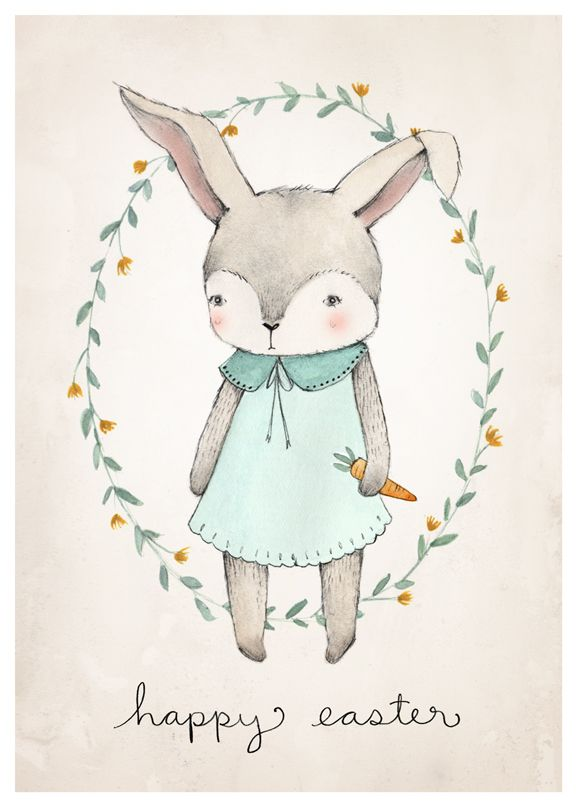 FREE PRINTABLE BUNNY ILLUSTRATION- 2 downloads- Happy Easter and Bunny Only!- click the downloads- pdf will upload- save as!