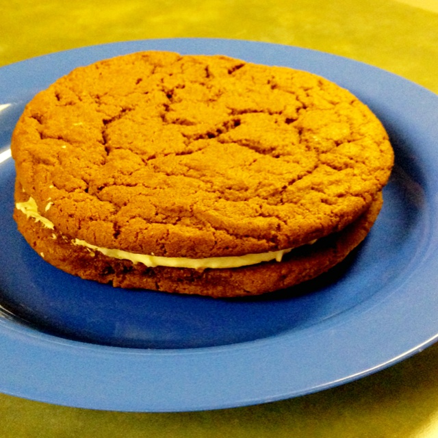 Giant ginger snap cream cheese sandwich