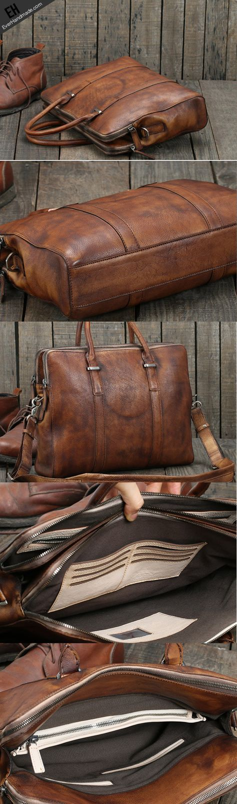 Handmade leather men Briefcase messenger large vintage ...