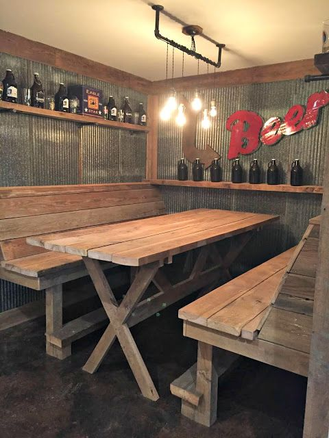 galvanized walls with wood table in the bar                                                                                                                                                                                 More