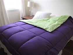 Colorful Dorm Room Mattress - Purple/Lime Green Reversible College Comforter - Twin XL
