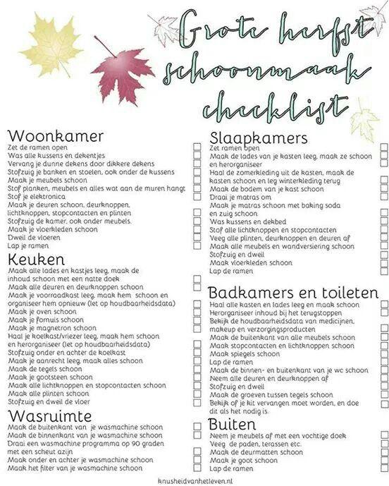 Lijst herfst schoonmaak
