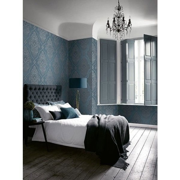 Seabrook Wallpaper CR32902 - Carl Robinson 11-Capri - Damask design wallcovering in a bedroom photo