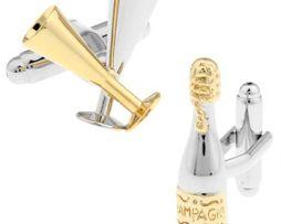 Jedinečné manžetové gombíky - šampanské a poháre