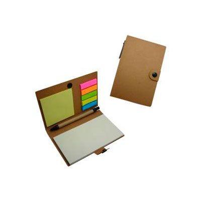 Libreta de notas ecológicas con bolígrafos. Incluye cuadernillo de hojas reciclados, taco post-it, banderitas post-it y un bolígrafo. Colores: Café Medida: 15,6 x 10 cm.